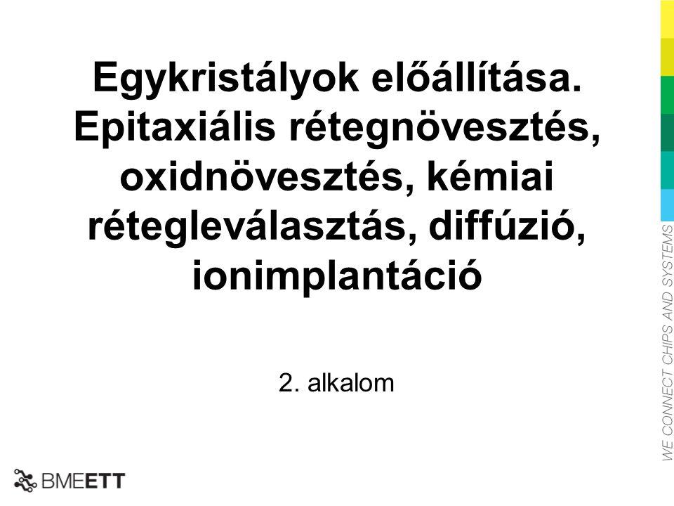 Egykristályok előállítása. Epitaxiális rétegnövesztés, oxidnövesztés, kémiai rétegleválasztás, diffúzió, ionimplantáció 2. alkalom A BME-ETT a SIITME