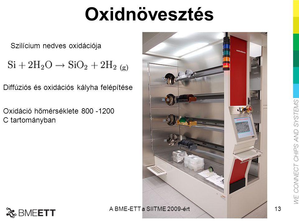Oxidnövesztés Szilícium nedves oxidációja Diffúziós és oxidációs kályha felépítése Oxidáció hőmérséklete 800 -1200 C tartományban A BME-ETT a SIITME 2009-ért13