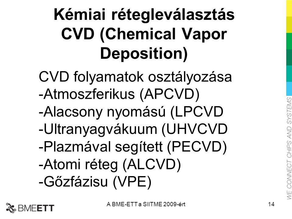 Kémiai rétegleválasztás CVD (Chemical Vapor Deposition) CVD folyamatok osztályozása -Atmoszferikus (APCVD) -Alacsony nyomású (LPCVD -Ultranyagvákuum (UHVCVD -Plazmával segített (PECVD) -Atomi réteg (ALCVD) -Gőzfázisu (VPE) A BME-ETT a SIITME 2009-ért14