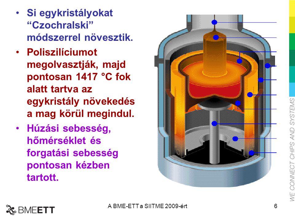 """Si egykristályokat """"Czochralski"""" módszerrel növesztik. Poliszilíciumot megolvasztják, majd pontosan 1417 °C fok alatt tartva az egykristály növekedés"""