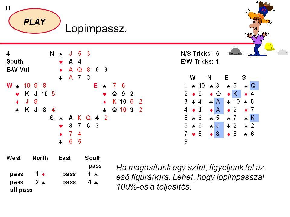 11 PLAY Lopimpassz. Ha magasítunk egy színt, figyeljünk fel az eső figurá(k)ra.