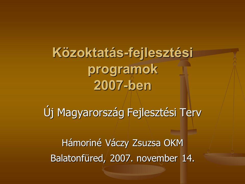 Közoktatás-fejlesztési programok 2007-ben Új Magyarország Fejlesztési Terv Hámoriné Váczy Zsuzsa OKM Balatonfüred, 2007. november 14.