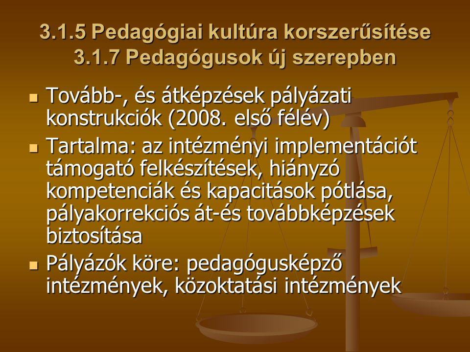 3.1.5 Pedagógiai kultúra korszerűsítése 3.1.7 Pedagógusok új szerepben Tovább-, és átképzések pályázati konstrukciók (2008. első félév) Tovább-, és át
