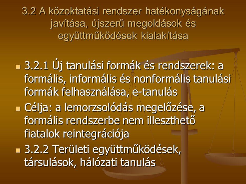 3.2 A közoktatási rendszer hatékonyságának javítása, újszerű megoldások és együttműködések kialakítása 3.2.1 Új tanulási formák és rendszerek: a formá