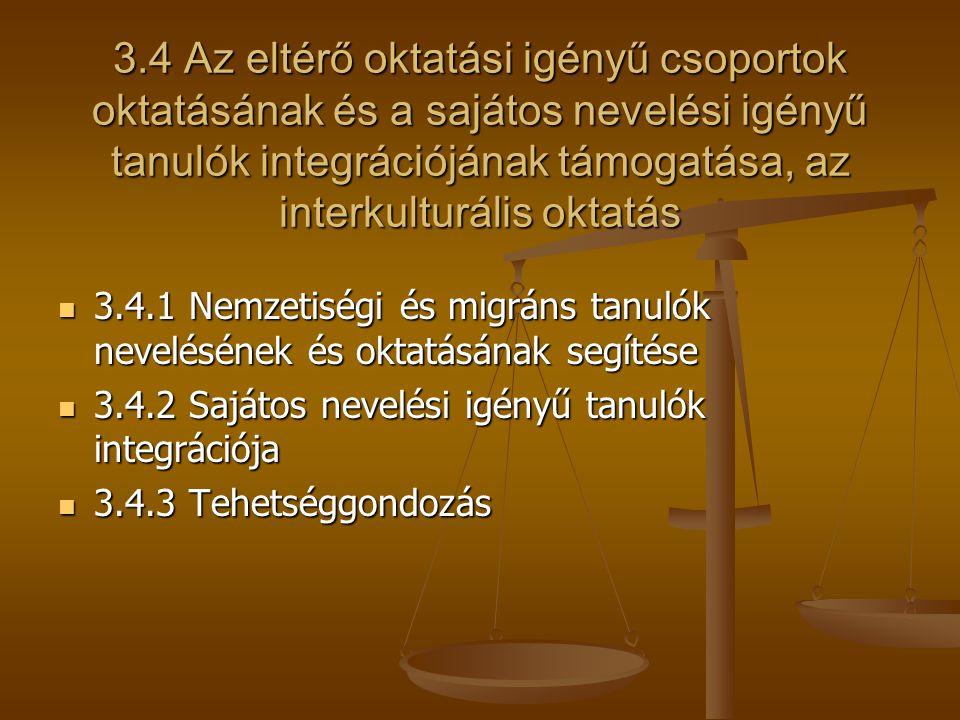 3.4 Az eltérő oktatási igényű csoportok oktatásának és a sajátos nevelési igényű tanulók integrációjának támogatása, az interkulturális oktatás 3.4.1