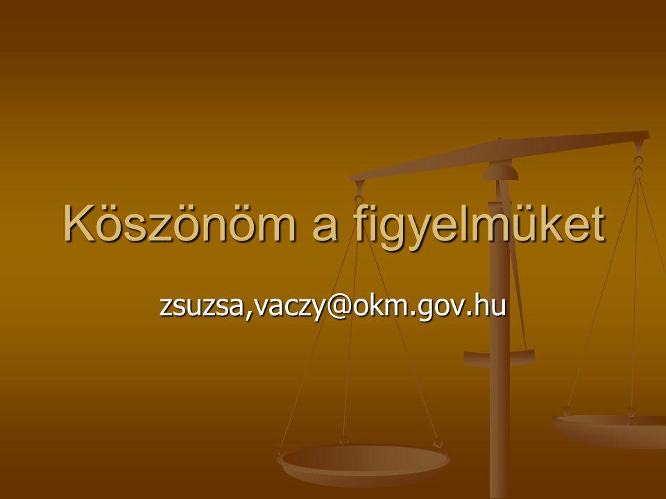 Köszönöm a figyelmüket zsuzsa,vaczy@okm.gov.hu
