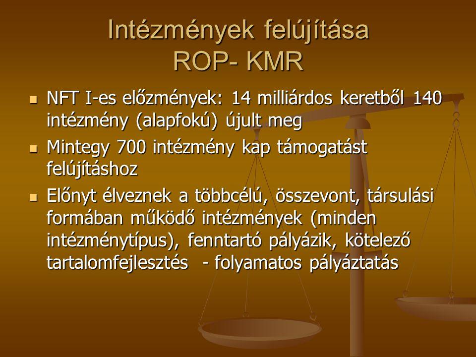 Intézmények felújítása ROP- KMR NFT I-es előzmények: 14 milliárdos keretből 140 intézmény (alapfokú) újult meg NFT I-es előzmények: 14 milliárdos kere