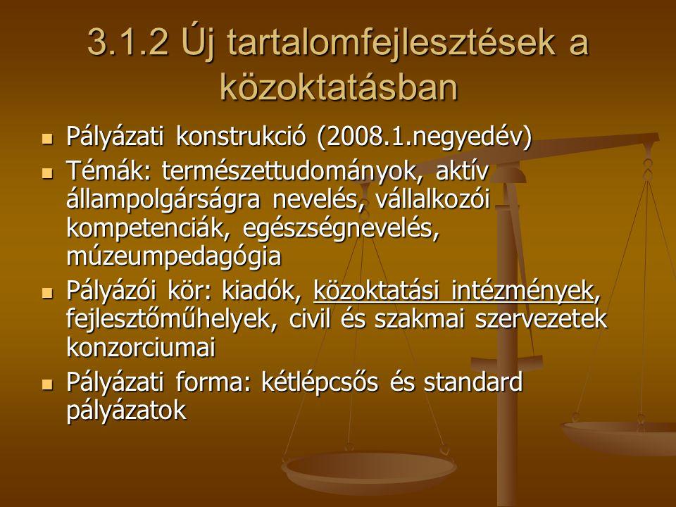 3.1.3 Innovatív iskolák3.1.4 Infrastrukturális fejlesztés tartalmi támogatása (2008.1.negyedév (folyamatos) Pályázati konstrukció (2008.1.negyedév) Pályázati konstrukció (2008.1.negyedév) Komponensek: automatizált pályázatok a leszakadó kistérségek intézményeinek, standard követőiskolai pályázatok Komponensek: automatizált pályázatok a leszakadó kistérségek intézményeinek, standard követőiskolai pályázatok Tartalma: új pedagógiai módszerek, eszközök alkalmazása Tartalma: új pedagógiai módszerek, eszközök alkalmazása Az intézmény pedagógiai gyakorlatának, programjának korszerűsítése Az intézmény pedagógiai gyakorlatának, programjának korszerűsítése