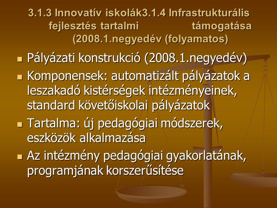 3.1.3 Innovatív iskolák3.1.4 Infrastrukturális fejlesztés tartalmi támogatása (2008.1.negyedév (folyamatos) Pályázati konstrukció (2008.1.negyedév) Pá