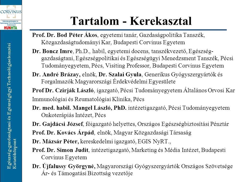 Tartalom - Kerekasztal Prof.Dr.