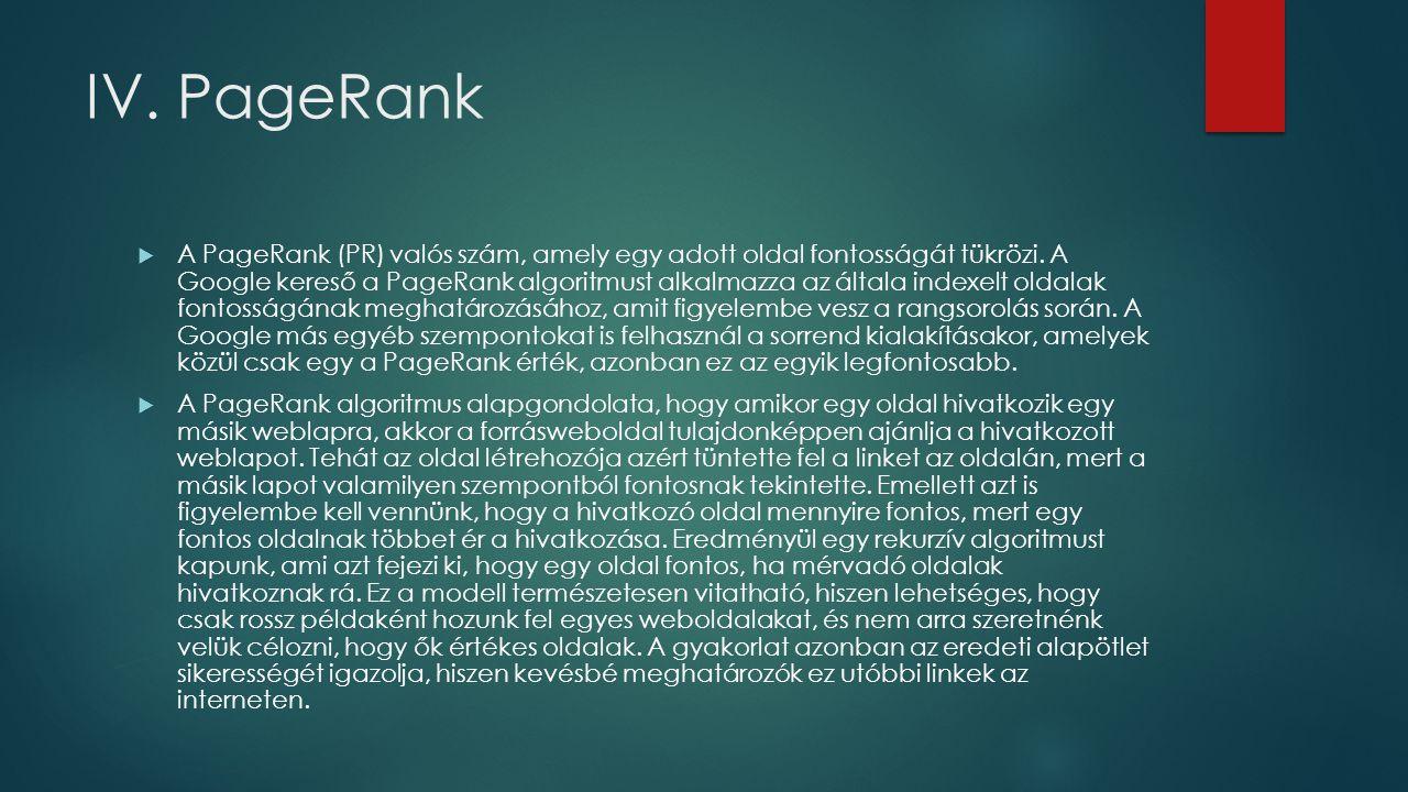 IV.PageRank  A PageRank (PR) valós szám, amely egy adott oldal fontosságát tükrözi.