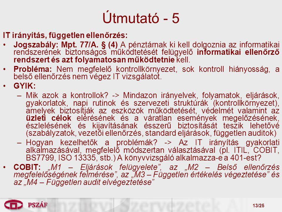 13/25 Útmutató - 5 IT irányítás, független ellenőrzés: Jogszabály: Mpt.