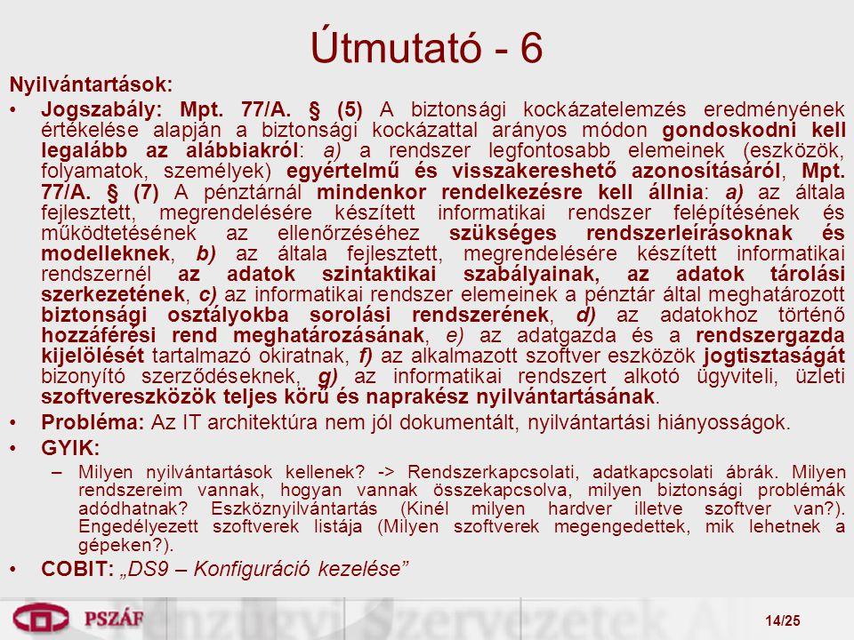 14/25 Útmutató - 6 Nyilvántartások: Jogszabály: Mpt.
