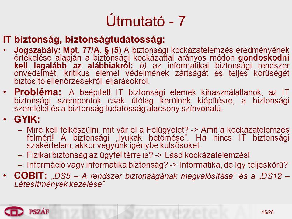 15/25 Útmutató - 7 IT biztonság, biztonságtudatosság: Jogszabály: Mpt.