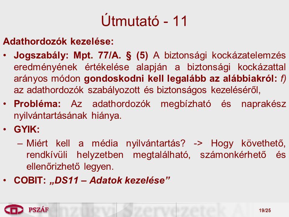 19/25 Útmutató - 11 Adathordozók kezelése: Jogszabály: Mpt.