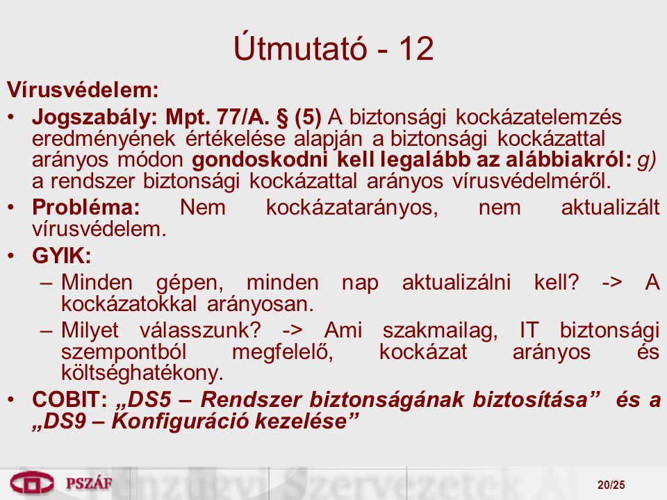 20/25 Útmutató - 12 Vírusvédelem: Jogszabály: Mpt.