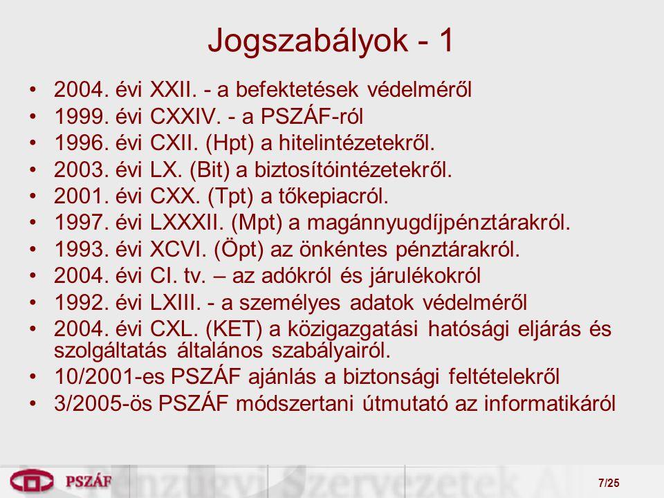 7/25 2004. évi XXII. - a befektetések védelméről 1999.