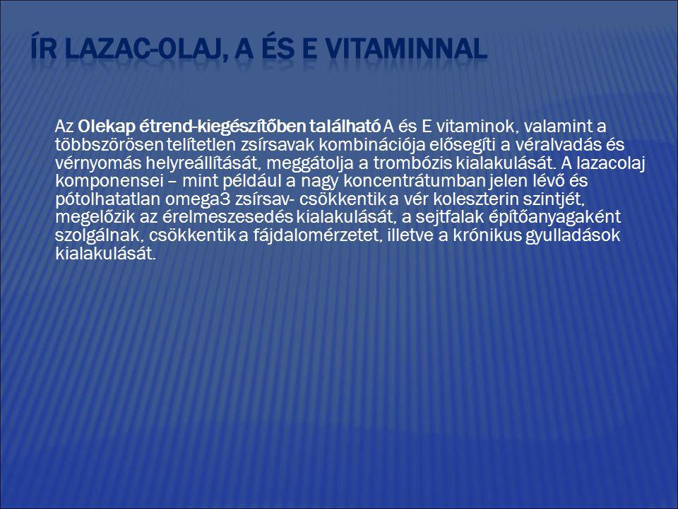 Az Olekap étrend-kiegészítőben található A és E vitaminok, valamint a többszörösen telítetlen zsírsavak kombinációja elősegíti a véralvadás és vérnyomás helyreállítását, meggátolja a trombózis kialakulását.