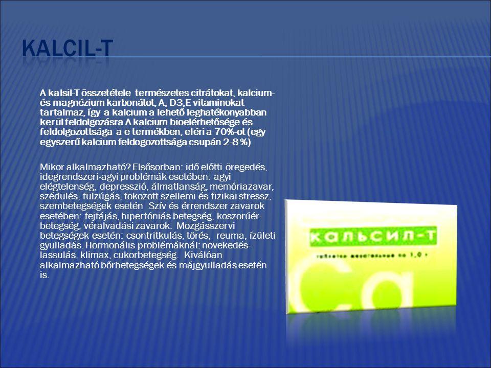A kalsil-T összetétele természetes citrátokat, kalcium- és magnézium karbonátot, A, D3,E vitaminokat tartalmaz, így a kalcium a lehető leghatékonyabban kerül feldolgozásra A kalcium bioelérhetősége és feldolgozottsága a e termékben, eléri a 70%-ot (egy egyszerű kalcium feldogozottsága csupán 2-8 %) Mikor alkalmazható.