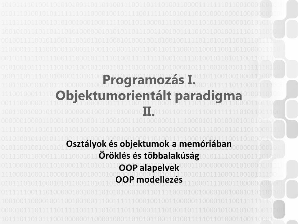Programozás I. Objektumorientált paradigma II. Osztályok és objektumok a memóriában Öröklés és többalakúság OOP alapelvek OOP modellezés