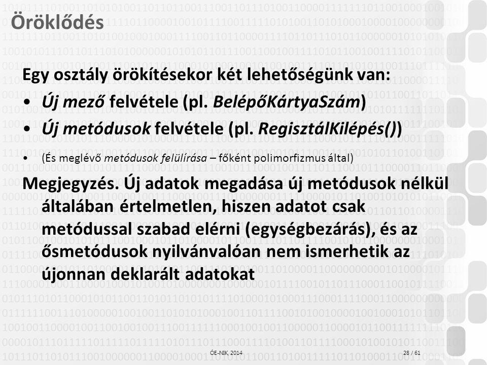 28 / 61 ÓE-NIK, 2014 Öröklődés Egy osztály örökítésekor két lehetőségünk van: Új mező felvétele (pl. BelépőKártyaSzám) Új metódusok felvétele (pl. Reg
