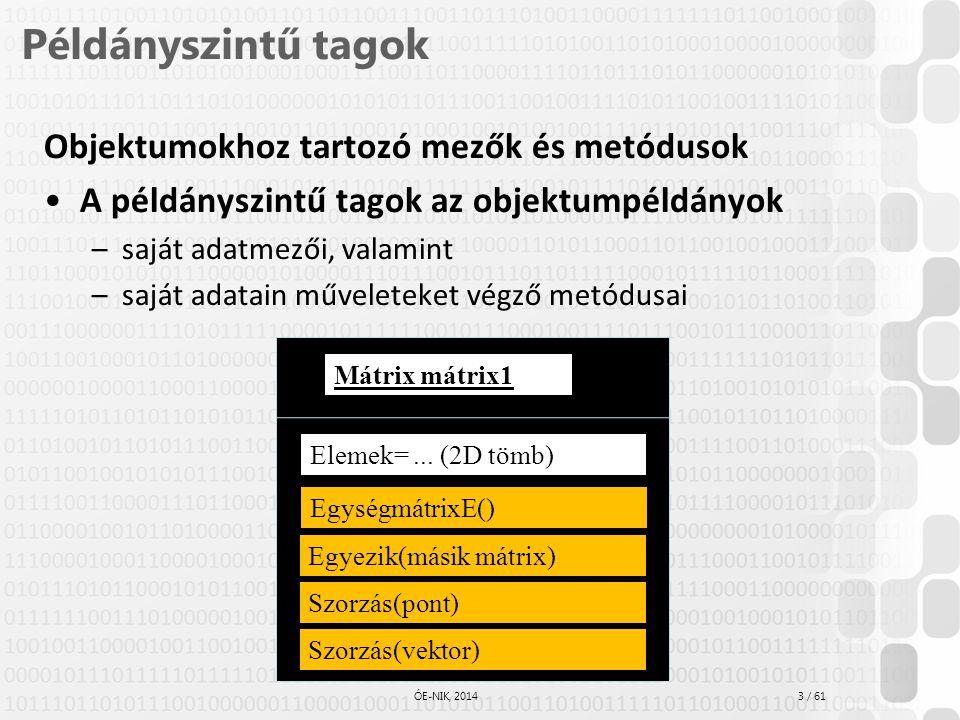 3 / 61 ÓE-NIK, 2014 Példányszintű tagok Objektumokhoz tartozó mezők és metódusok A példányszintű tagok az objektumpéldányok –saját adatmezői, valamint