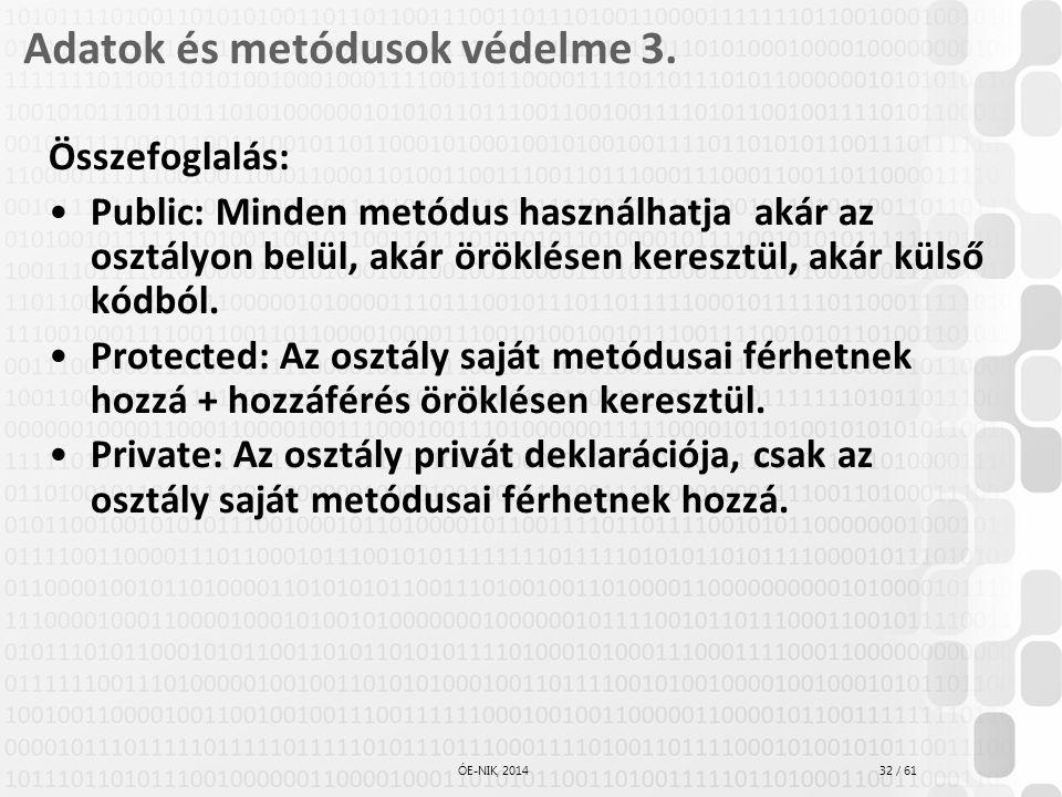 32 / 61 ÓE-NIK, 2014 Adatok és metódusok védelme 3. Összefoglalás: Public: Minden metódus használhatja akár az osztályon belül, akár öröklésen kereszt