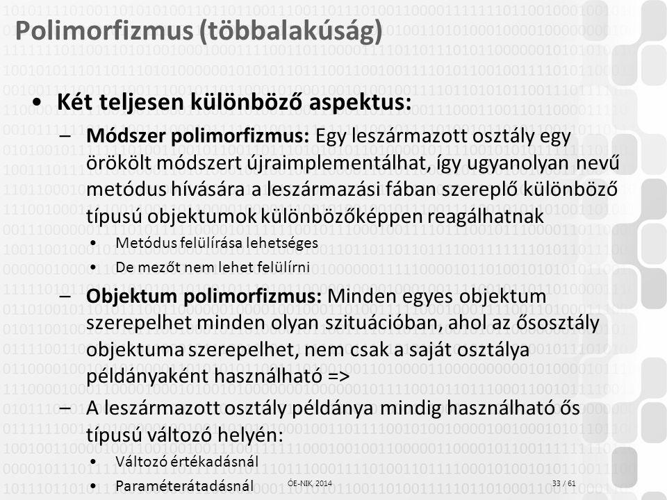 33 / 61 ÓE-NIK, 2014 Polimorfizmus (többalakúság) Két teljesen különböző aspektus: –Módszer polimorfizmus: Egy leszármazott osztály egy örökölt módsze