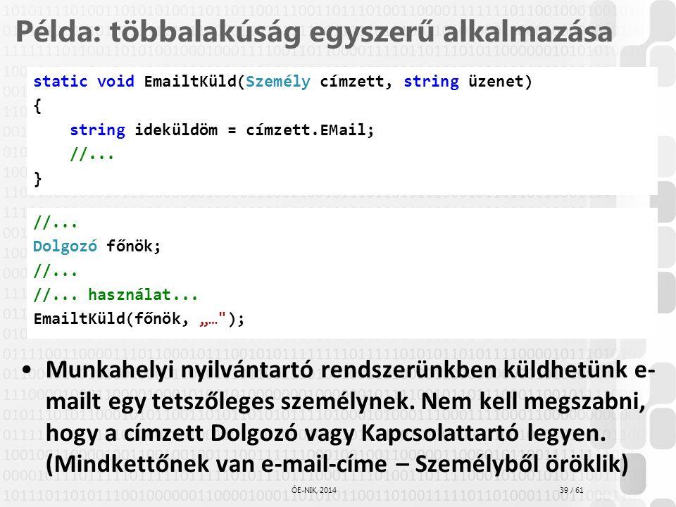 39 / 61 ÓE-NIK, 2014 Példa: többalakúság egyszerű alkalmazása Munkahelyi nyilvántartó rendszerünkben küldhetünk e- mailt egy tetszőleges személynek. N