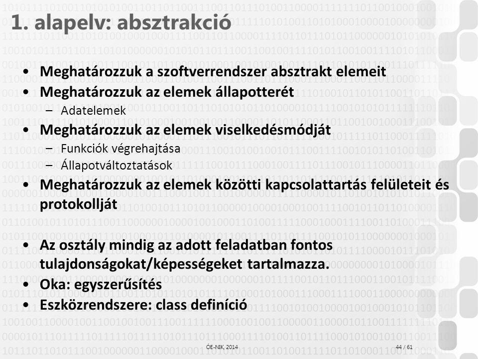 44 / 61 ÓE-NIK, 2014 1. alapelv: absztrakció Meghatározzuk a szoftverrendszer absztrakt elemeit Meghatározzuk az elemek állapotterét –Adatelemek Megha