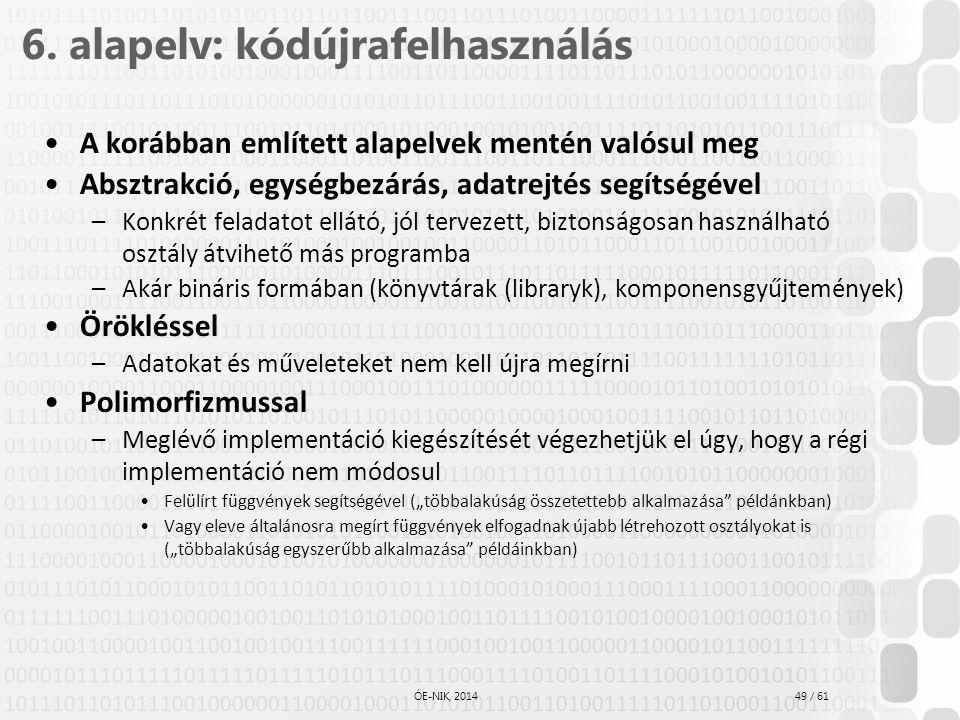 49 / 61 ÓE-NIK, 2014 6. alapelv: kódújrafelhasználás A korábban említett alapelvek mentén valósul meg Absztrakció, egységbezárás, adatrejtés segítségé