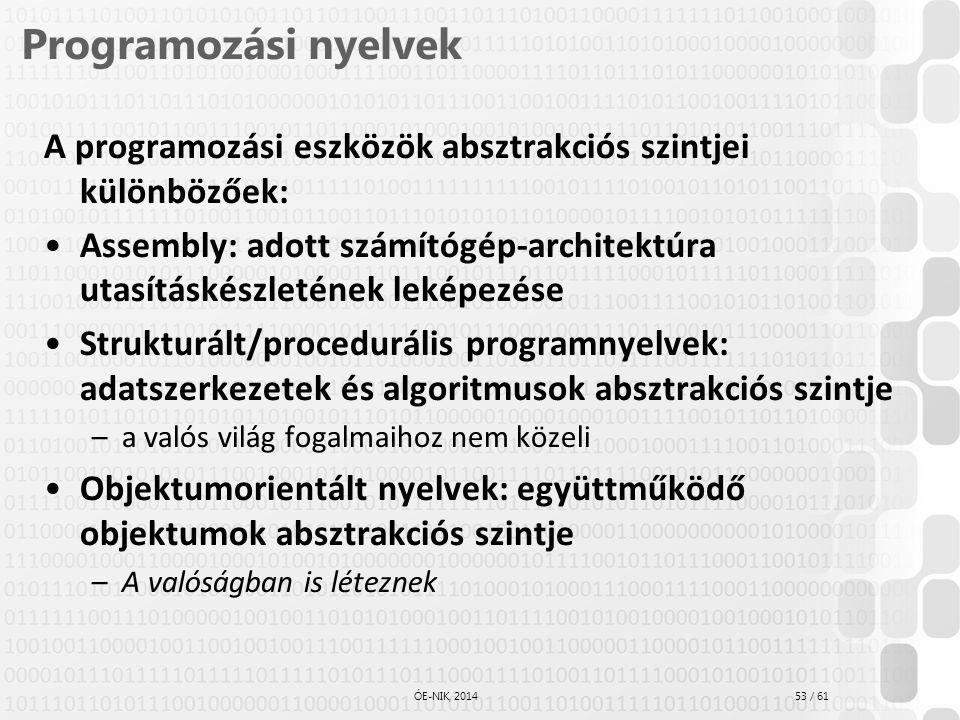 53 / 61 ÓE-NIK, 2014 Programozási nyelvek A programozási eszközök absztrakciós szintjei különbözőek: Assembly: adott számítógép-architektúra utasításk