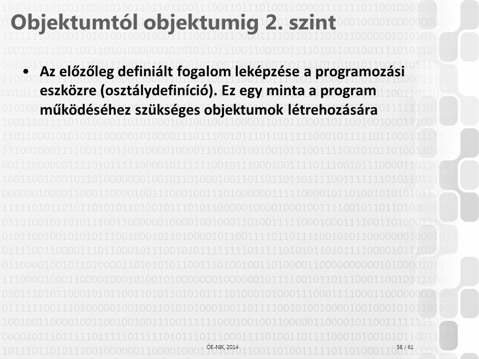58 / 61 ÓE-NIK, 2014 Objektumtól objektumig 2. szint Az előzőleg definiált fogalom leképzése a programozási eszközre (osztálydefiníció). Ez egy minta