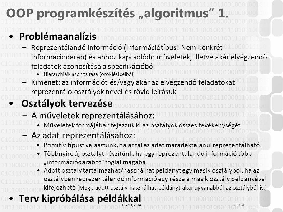 """61 / 61 ÓE-NIK, 2014 OOP programkészítés """"algoritmus"""" 1. Problémaanalízis –Reprezentálandó információ (információtípus! Nem konkrét információdarab) é"""