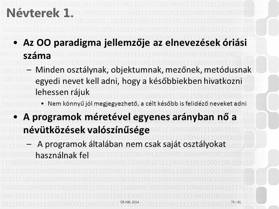70 / 61 ÓE-NIK, 2014 Névterek 1. Az OO paradigma jellemzője az elnevezések óriási száma –Minden osztálynak, objektumnak, mezőnek, metódusnak egyedi ne
