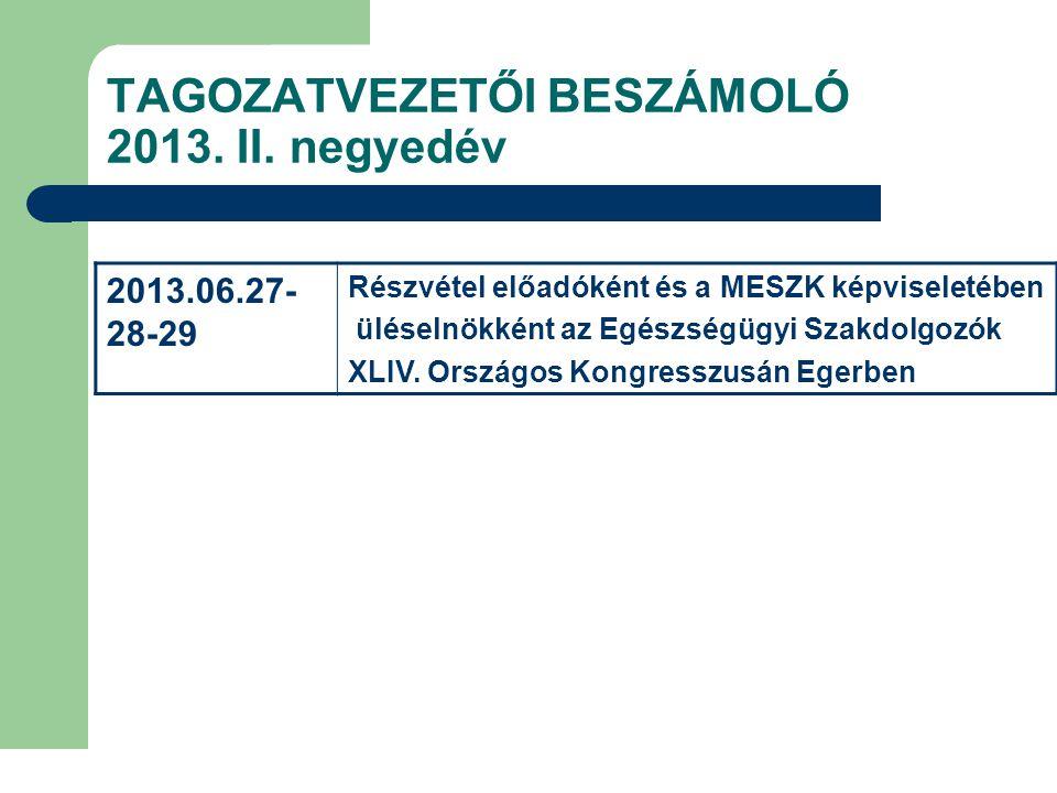 TAGOZATVEZETŐI BESZÁMOLÓ 2013. II. negyedév 2013.06.27- 28-29 Részvétel előadóként és a MESZK képviseletében üléselnökként az Egészségügyi Szakdolgozó