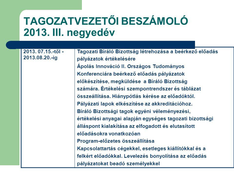 TAGOZATVEZETŐI BESZÁMOLÓ 2013. III. negyedév 2013. 07.15.-től - 2013.08.20.-ig Tagozati Bíráló Bizottság létrehozása a beérkező előadás pályázatok ért
