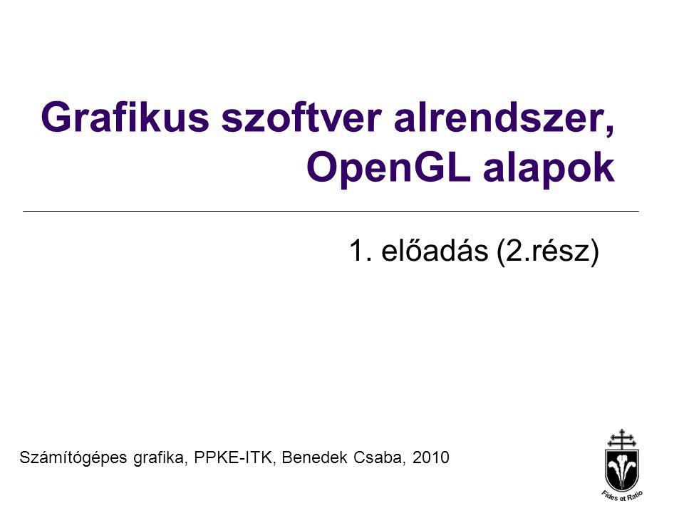 Számítógépes Grafika 2010, PPKE ITK, Benedek Csaba Minta: menücallback implementációja void MenuFunc(int menuItemIndex) { switch(menuItemIndex) { case 0: … ; break; case 1: … ; break; case 2: … ; break; case 3: … ; break; case 4: exit(0); case 5: MessageBox(NULL, Hello Glut , About ,MB_OK); break; } glutPostRedisplay(); }