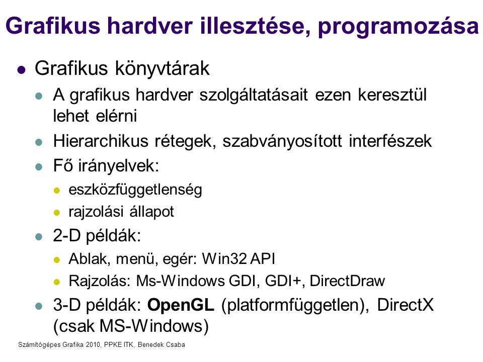 Számítógépes Grafika 2010, PPKE ITK, Benedek Csaba Grafikus hardver illesztése, programozása Grafikus könyvtárak A grafikus hardver szolgáltatásait ezen keresztül lehet elérni Hierarchikus rétegek, szabványosított interfészek Fő irányelvek: eszközfüggetlenség rajzolási állapot 2-D példák: Ablak, menü, egér: Win32 API Rajzolás: Ms-Windows GDI, GDI+, DirectDraw 3-D példák: OpenGL (platformfüggetlen), DirectX (csak MS-Windows)
