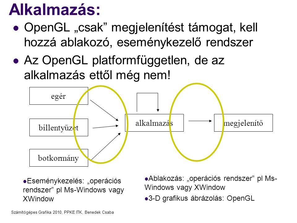 """Számítógépes Grafika 2010, PPKE ITK, Benedek Csaba Alkalmazás: OpenGL """"csak megjelenítést támogat, kell hozzá ablakozó, eseménykezelő rendszer Az OpenGL platformfüggetlen, de az alkalmazás ettől még nem."""