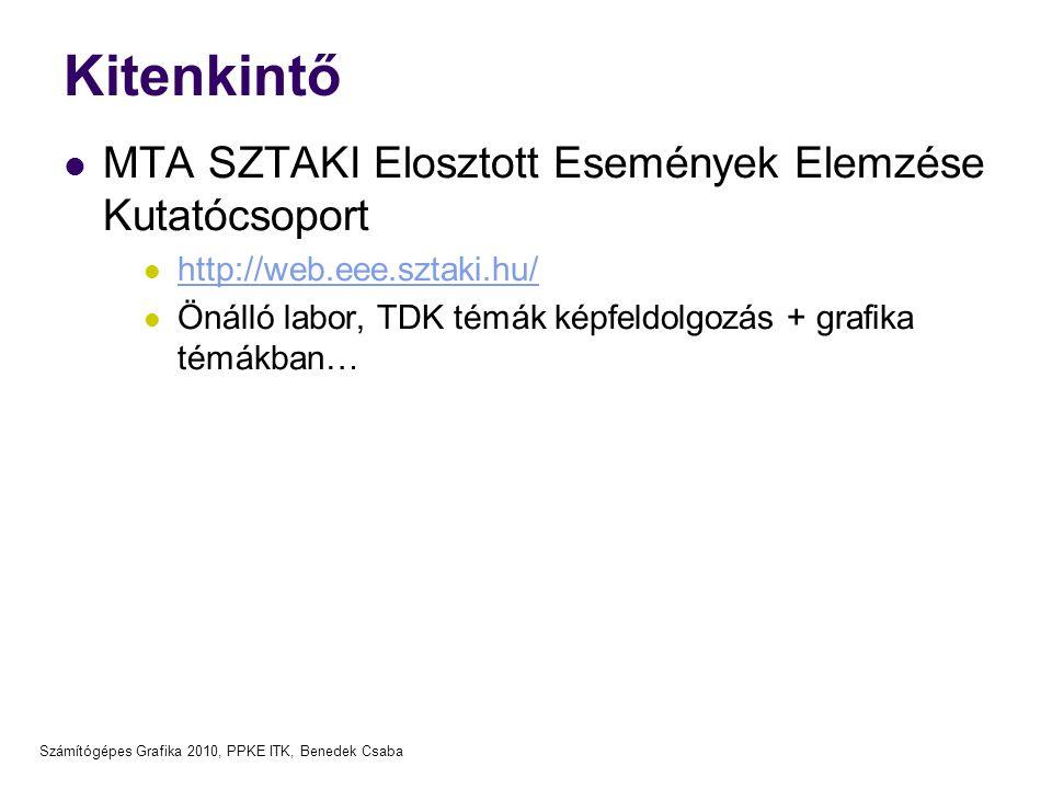 Számítógépes Grafika 2010, PPKE ITK, Benedek Csaba Kitenkintő MTA SZTAKI Elosztott Események Elemzése Kutatócsoport http://web.eee.sztaki.hu/ Önálló labor, TDK témák képfeldolgozás + grafika témákban…