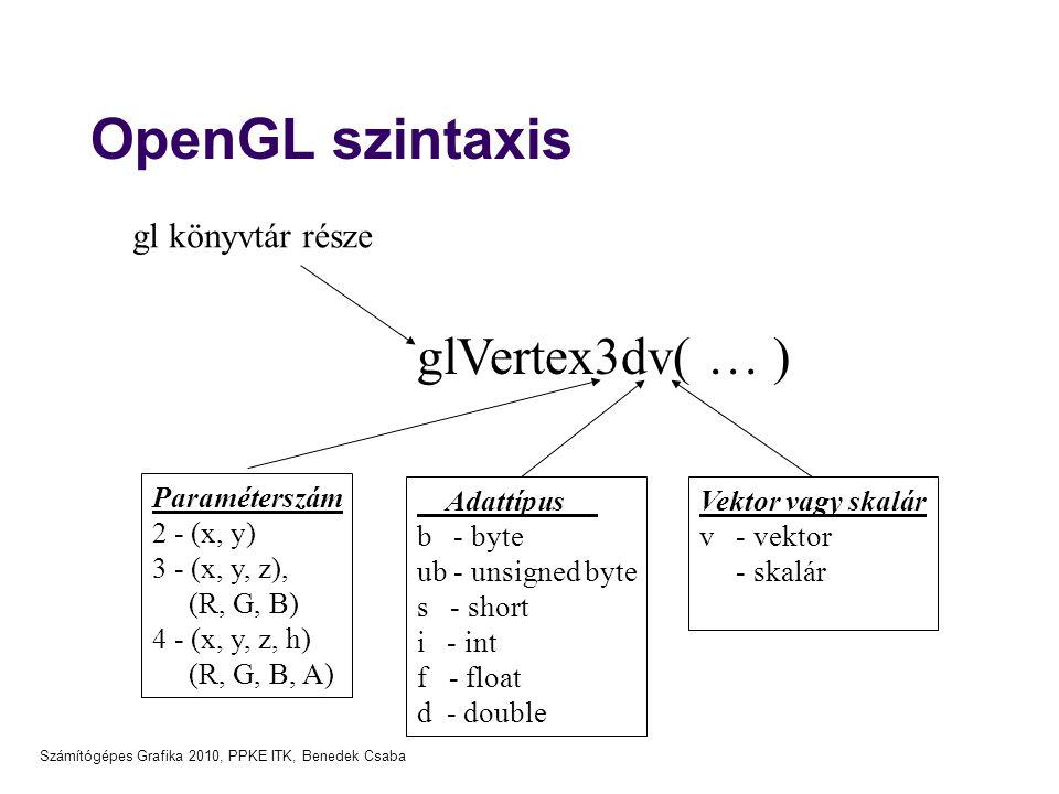 Számítógépes Grafika 2010, PPKE ITK, Benedek Csaba OpenGL szintaxis glVertex3dv( … ) Paraméterszám 2 - (x, y) 3 - (x, y, z), (R, G, B) 4 - (x, y, z, h) (R, G, B, A) Adattípus b - byte ub - unsigned byte s - short i - int f - float d - double Vektor vagy skalár v - vektor - skalár gl könyvtár része