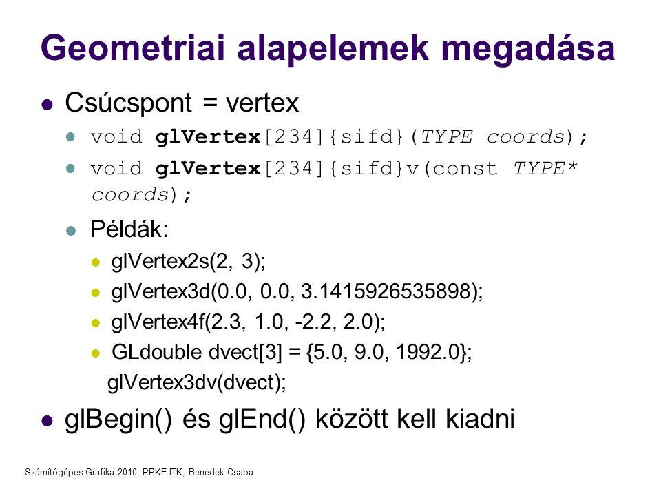 Számítógépes Grafika 2010, PPKE ITK, Benedek Csaba Geometriai alapelemek megadása Csúcspont = vertex void glVertex[234]{sifd}(TYPE coords); void glVertex[234]{sifd}v(const TYPE* coords); Példák: glVertex2s(2, 3); glVertex3d(0.0, 0.0, 3.1415926535898); glVertex4f(2.3, 1.0, -2.2, 2.0); GLdouble dvect[3] = {5.0, 9.0, 1992.0}; glVertex3dv(dvect); glBegin() és glEnd() között kell kiadni