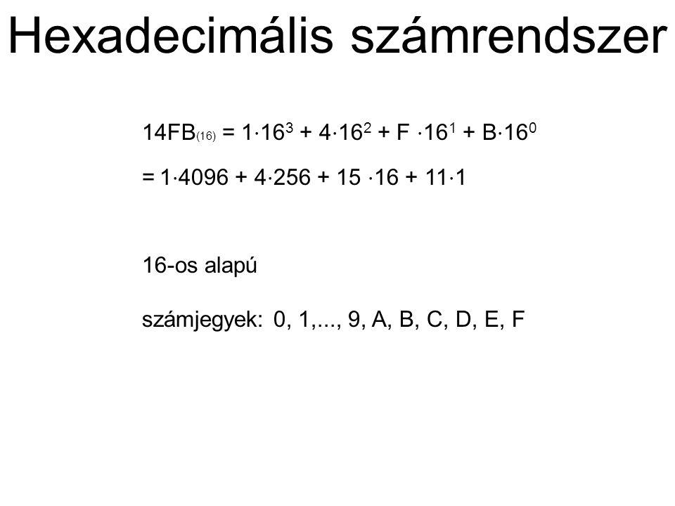 Hexadecimális számrendszer 14FB (16) = 1 ⋅ 16 3 + 4 ⋅ 16 2 + F ⋅ 16 1 + B ⋅ 16 0 = 1 ⋅ 4096 + 4 ⋅ 256 + 15 ⋅ 16 + 11 ⋅ 1 16-os alapú számjegyek: 0, 1,