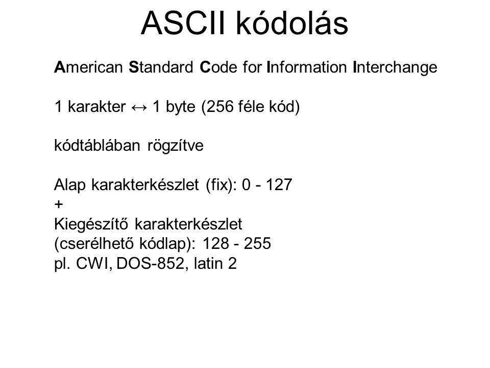 ASCII kódolás American Standard Code for Information Interchange 1 karakter ↔ 1 byte (256 féle kód) kódtáblában rögzítve Alap karakterkészlet (fix): 0