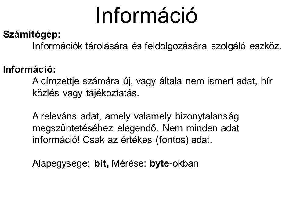 Számítógép: Információk tárolására és feldolgozására szolgáló eszköz. Információ: A címzettje számára új, vagy általa nem ismert adat, hír közlés vagy