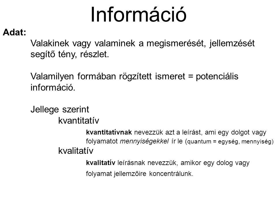 Információ Adat: Valakinek vagy valaminek a megismerését, jellemzését segítő tény, részlet. Valamilyen formában rögzített ismeret = potenciális inform