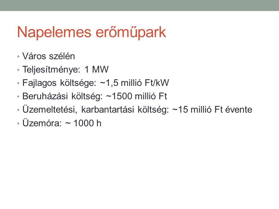 Napelemes erőműpark Város szélén Teljesítménye: 1 MW Fajlagos költsége: ~1,5 millió Ft/kW Beruházási költség: ~1500 millió Ft Üzemeltetési, karbantartási költség: ~15 millió Ft évente Üzemóra: ~ 1000 h