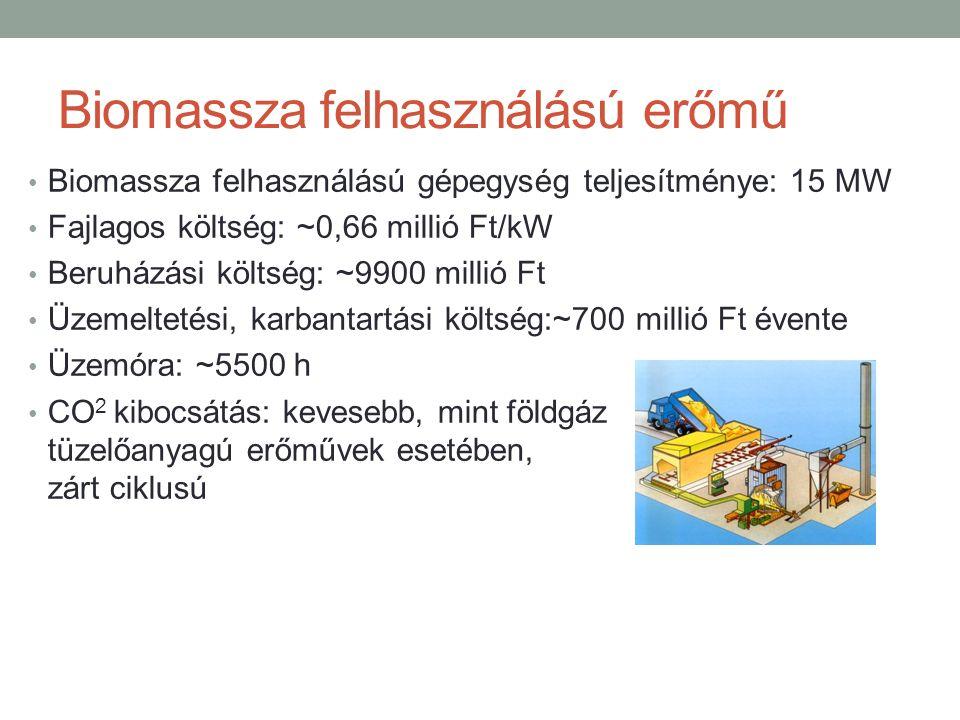 Biomassza felhasználású erőmű Biomassza felhasználású gépegység teljesítménye: 15 MW Fajlagos költség: ~0,66 millió Ft/kW Beruházási költség: ~9900 millió Ft Üzemeltetési, karbantartási költség:~700 millió Ft évente Üzemóra: ~5500 h CO 2 kibocsátás: kevesebb, mint földgáz tüzelőanyagú erőművek esetében, zárt ciklusú