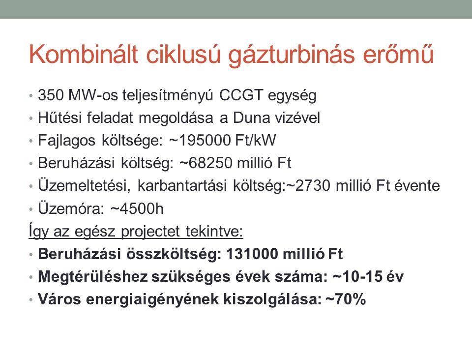 Kombinált ciklusú gázturbinás erőmű 350 MW-os teljesítményú CCGT egység Hűtési feladat megoldása a Duna vizével Fajlagos költsége: ~195000 Ft/kW Beruházási költség: ~68250 millió Ft Üzemeltetési, karbantartási költség:~2730 millió Ft évente Üzemóra: ~4500h Így az egész projectet tekintve: Beruházási összköltség: 131000 millió Ft Megtérüléshez szükséges évek száma: ~10-15 év Város energiaigényének kiszolgálása: ~70%